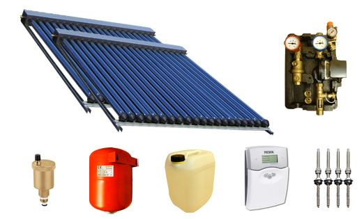 solaranlage warmwasser und heizung mit 60 swd r hren 58 1800 9 90m edelstahl. Black Bedroom Furniture Sets. Home Design Ideas