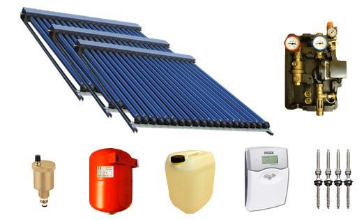solaranlage warmwasser und heizung mit 90 swd r hren 58 1800 14 85m edelstahl. Black Bedroom Furniture Sets. Home Design Ideas