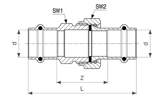 viega sanpress verschraubung 18 mm flachdichtend modell 2260. Black Bedroom Furniture Sets. Home Design Ideas